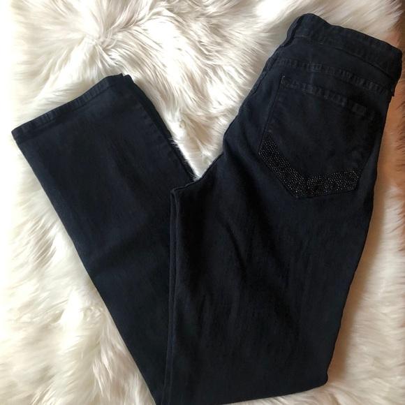 NYDJ Denim - NYDJ Black Jeans Size 12 Sparkle on Pockets